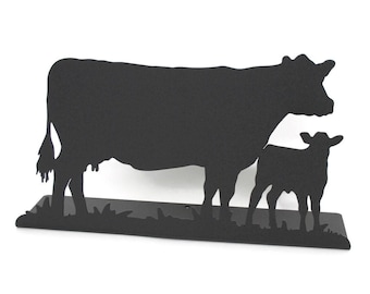 """Magnetic Steel Standing Cow and Calf Sign -- 11.5"""" wide"""