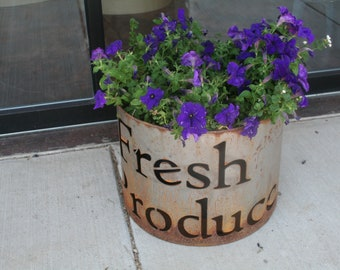Rustic Metal Bin, flower planter, metal planter box, storage bin, display bucket tote, metal tote, firewood storage, wood bin, fire ring