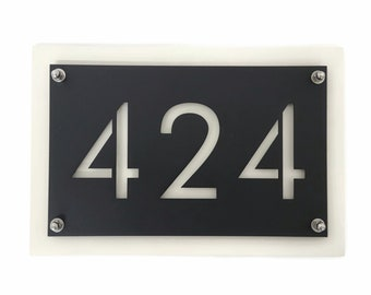 """Modern Style Horizontal Metal House Number Address Sign, 8x12"""" up to 15x48"""" with many color choices! Add stakes or hang on the wall."""