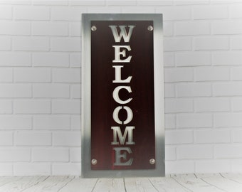 Upright Vertical Stacked Translucent Red Stainless and Aluminum Metal WELCOME Sign 10x20 Inches