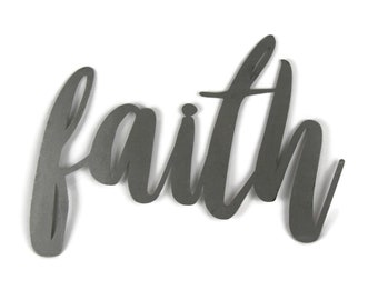 faith script, faith metal sign, metal word art, steel word art, steel script cursive font, DIY faith sign, Bible craft project, have faith