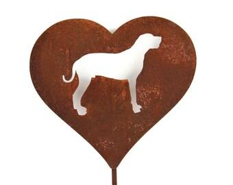 Great Dane Dog Heart Garden Stake, pet memorial, dog stake, rainbow bridge
