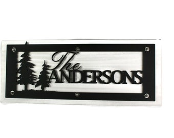 Woodland Trees Metal Name Sign for Home, Cabin or Lake, 10x25 Inches -- Many Colors Available!