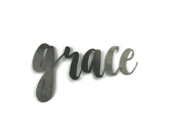 grace script, grace metal sign, metal word art, confirmation gift, steel script cursive font, DIY grace sign, religious wall decor word art