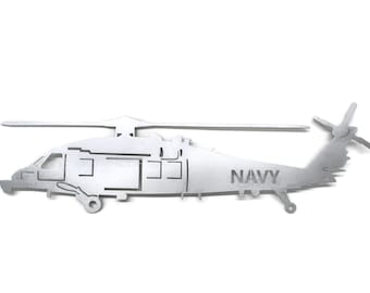 U.S. Navy SH-60 or MH-60, Navy Helicopter Sign, US Navy Metal Art, Navy Seahawk, Sikorsky Helicopter, Navy Retirement