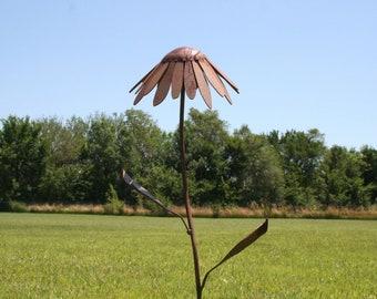 Metal Coneflower, Metal Flower Stake, garden flowers, Flower Garden Stake, Rusty Metal Flower Stake, Rusty Coneflowers Rudbeckia