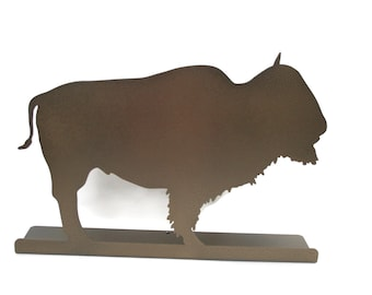 "Magnetic Steel Standing Buffalo Bison Sign -- 12"" wide"
