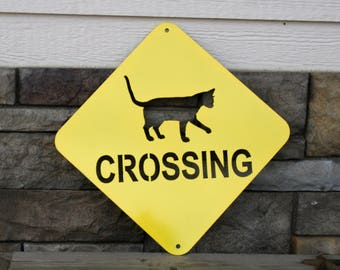 Cat Crossing Sign, Metal Cat Sign, crazy cat lady, cat gift, kitten gift, new cat, new pet, cats, kittens, kitties, cat traffic sign