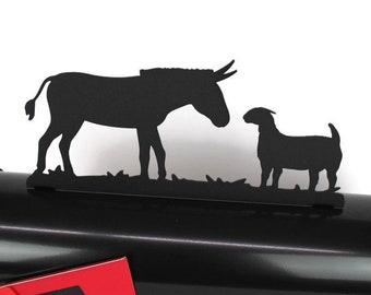 Donkey and Goat Metal Mailbox Topper, Metal Farm Animal Mailbox Top