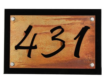 Black Rustic Metal Address Number Plaque, House Number Sign, Rustic Address Sign, Street Address, House Number Plaque, Address Plate