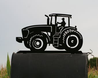 Modern Tractor Mailbox Topper, Metal Tractor Mailbox Top, Tractor with Cab, New Tractor Mailbox Top, Tractor Mail Sorter, cab tractor sign