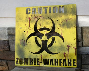 Zombie Apocalypse Caution Bio-Warfare Yellow Metal Sign, The Walking Dead fan watch party sign, Blood spattered bullet holes