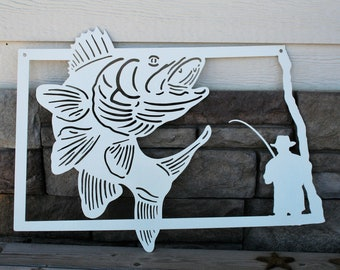 North Dakota Walleye Fishing Sign, Ice Fishing North Dakota, Fisherman Sign