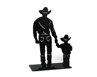 Cowboy and Son, cowboy Silhouette, free-standing metal cowboy, Cowboys walking, Western decor, Father and Son, Rustic Cowboy, father's day