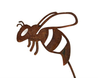 Metal Bee Garden Stake, bee yard stake, buzzing flying bee stake, be you, be love, be still