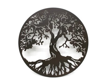 """Round tree of life sign, metal family tree sign decor -- 15"""" diameter powder coated"""