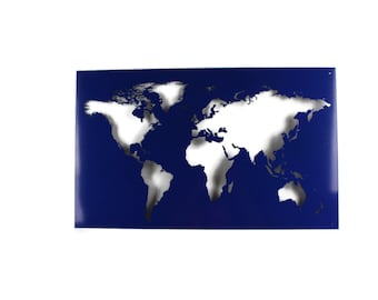 "Metal World Map Outline -- 23 or 35"" wide"