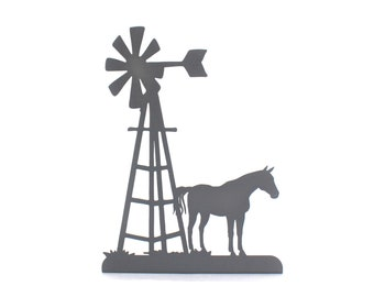 """Metal Windmill and Horse Stand 15"""" tall Powder Coated"""