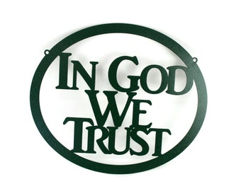 """In God We Trust metal oval sign, United States official national motto, 12x15"""" sign -- Great for schools!"""