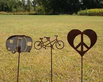 Garden stake set, Camping Couples Gift Set -- Camper, Tandem Bicycle, Peace Heart, Happy Campers, RV teardrop mini travel trailer