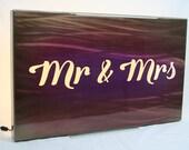 Mr Mrs backlit sign, wall light, mr and mrs sign, led lighting, modern reception decor, wedding gift, anniversary gift, romantic gift