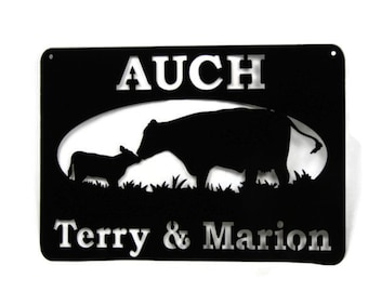 Cow and Calf Farm and Ranch Name or Address Sign, custom farm sign, custom name sign, personalized name sign, cattle farm, dairy farm