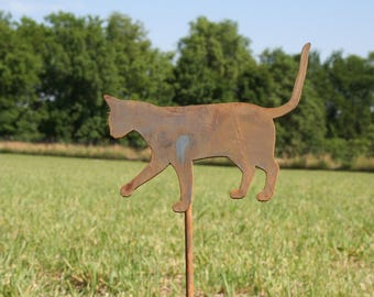 Metal Cat Garden Stake, cat yard sign, outdoor cat stake, crazy cat lady, garden marker, rustic garden art, rusty garden stake