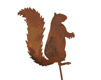 "Rustic Metal Woodland Wildlife Squirrel Garden Stake -- 23"" Tall"