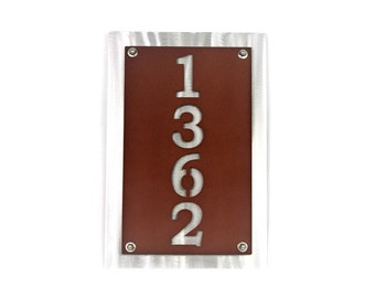"Traditional Style Vertical Metal House Number Address Sign, 8x12"" up to 10x32"" with many color choices!"