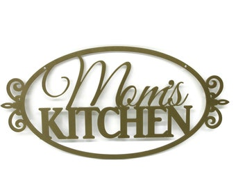 """Floral Pattern Mom's Kitchen Metal Sign 20"""" wide Powder Coated Steel"""