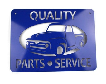 1954 Ford Pickup Metal Powder Coated Sign: Dad's Shop OPEN 24 hrs, Quality Parts & Service