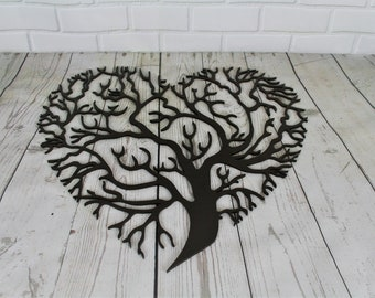 Heart shaped tree of life bare metal paint project, DIY valentine gift idea, metal love heart sign, family tree decor, paint your own