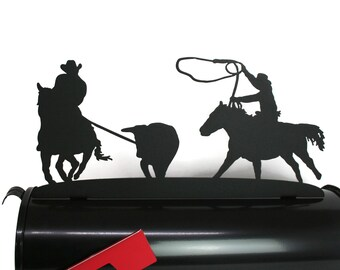 Cowboy Rodeo Team Roping Horse Rider Ranch Style Metal Mailbox Topper