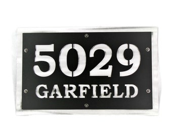 "Traditional Style Horizontal Metal House Number Address Sign, 8x12"" up to 15x48"" with many color choices! Add stakes or hang on the wall."