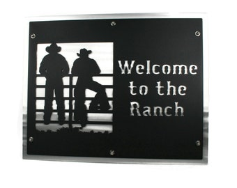 Welcome to the Ranch 20x25 Inch Cowboy Metal Sign -- Available in many colors!