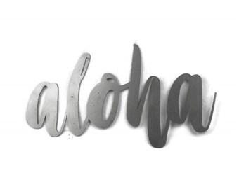 aloha script, aloha metal sign, metal word art, steel word art, steel script cursive font, DIY aloha sign, Hawaiian welcome aloha sign text