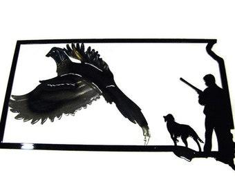 South Dakota Pheasant Hunting Metal Art -- South Dakota Art, hunting sign, pheasant hunter, hunter and dog, pointer dog, hunting sign, fall