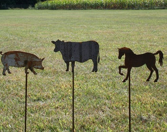 Farm Animal Garden Stake Gift Set -- Cow, Horse and Pig
