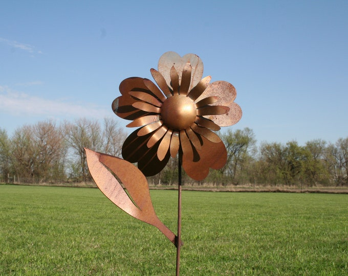 Featured listing image: Large Metal Sunflower, Metal Flower Stake, garden flowers, Flower Garden Stake, Giant Metal Flower, Rusty Flower Stake, Rusty Sunflower