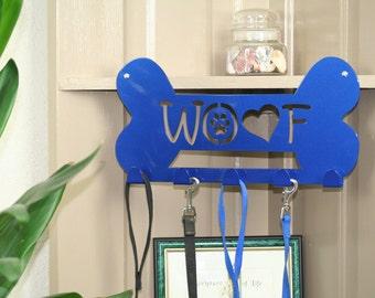 Metal leash holder, WOOF, leash rack, dog leash, leash holder, key rack, key holder, dog harness, pet storage, leash hook, leash storage