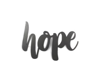 hope script, hope metal sign, metal word art, inspirational sign, faith hope love, hopeful, hope wall decor, diy hope sign, there is hope