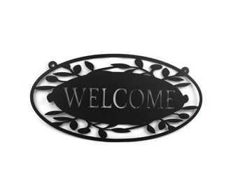 "Floral Pattern Welcome Sign, welcome sign, entryway sign, outdoor welcome sign, 16"" wide welcome, metal welcome sign, your choice of color"