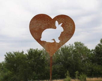 Bunny Rabbit Heart Garden Stake, pet memorial, rabbit stake, garden gift idea