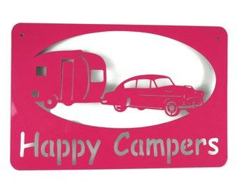 Metal Happy Campers RV Campground Vintage Retro Camper Sign - 22 Inches Wide