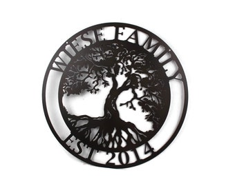 Custom Tree of Life Metal Family Name Sign, Anniversary personalized family sign