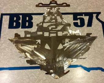 US Navy USS South Dakota metal art, Battleship X wall decor -- ships FREE! Military Wall Art, Navy Wall Art, South Dakota Art, Retired Ship