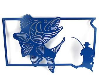 South Dakota State Outline Walleye Fishing, Custom Fishing Sign, fishing outdoors sign, South Dakota sign, SD metal sign, walleye fishing