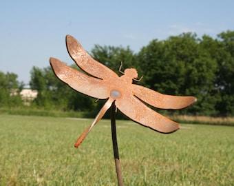 Metal Dragonfly Stake, rustic garden art, dragonfly garden stake, garden marker, gift for her, dragonfly, metal bug stake, outdoor dragonfly