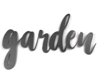 garden script, garden metal sign, metal word art, steel word art, steel script cursive font, DIY garden sign, garden decor, gardener gift