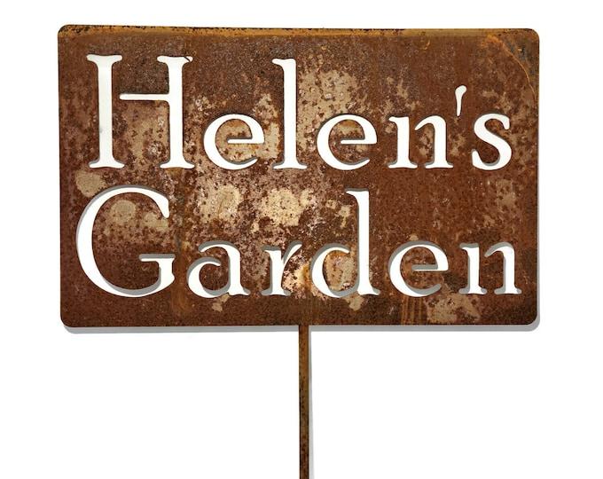 Featured listing image: Custom Metal Garden Stake, Gardener Gift, Mom's Garden, Dad's Garden, pet memorial sign, Garden Marker Stake